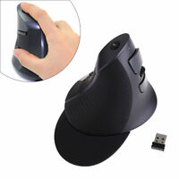 Delux 2.4G Wireless Optical Ergonomic Up-right Vertical USB Mouse Mice 1600DPI