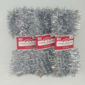 Lot of 3 - Silver Tinsel Garland Christmas Holiday Decoration - 12 Ft Each Pack