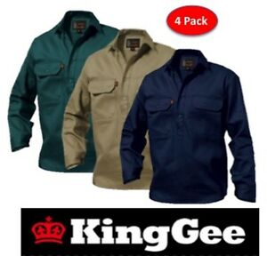 KING GEE  - PACK OF 4 - MENS CLOSED FRONT LONG SLEEVE DRILL WORK SHIRT - K04020