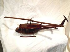 Uh1 Bell Huey Helicopter Handcrafted Natural Premium Wood Desk Model