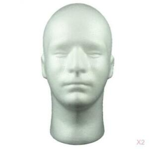 2x Male Mannequin Heads for Wigs Glasses Hairpieces Display