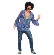 Mens 60s Funky Hippie Hippy Groovy Shirt Festival Fancy Dress Costume Large