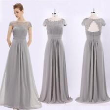 NEW UK Long Lace Cap Sleeve Evening Gowns Grey Bridesmaid Dresses Grace