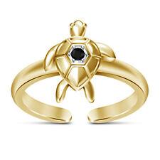 14k Yellow Gold Finish Round Diamond Ocean sea turtle Womens Adjustable Toe Ring