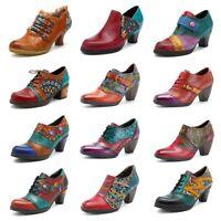 SOCOFY Women Retro Style Shoes Printing Pattern Hook Loop Buckle Leather Pumps
