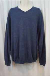 Weatherproof Vintage Mens Sweater Sz L Indigo Blue Casual V Neck Sweater