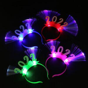 2022 LED Glow Headband Flashing Blinking Crown Fiber Happy New Year Hair Banzh