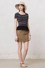 Anthropologie Meadow Rue Women Blouse Black Smock Peplum Shirt Stripe Top M NWT