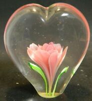 Vintage Heart Shaped Art Glass Paperweight w/ Pink Flower & Green Leaves Excell