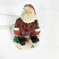 """Stained Glass Santa Claus Tiffany Style Lamp Night Light Vintage 8"""" Tall"""