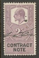 King Edward VII - 2s - Lilac - Contract Note - Used