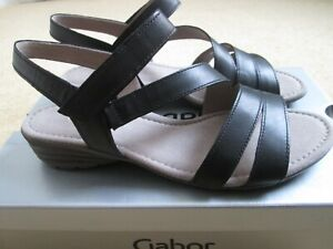 BNWB Black Leather Low Heel Earl Sandals From Gabor UK - 5