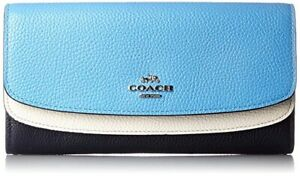Coach 53858 Navy Multi Colorblock Leather Double Flap Slim Envelope Wallet ~NWT