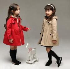 Children Baby Girls Hooded Fashion Trench Coat Windbreaker Jacket Outwear Tops I