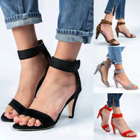 Womens Hook Loop Kitten High Heels Sandals Ladies Ankle Strap Shoes Evening Prom