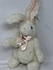 "Bearington ""Bows"" Plush Jointed White Easter Bunny Spring Stuffed Animal #4115"