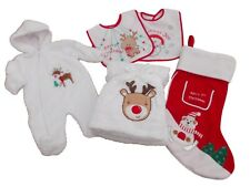 BNWT  Baby Christmas gift all in one suit  blanket bibs and  free xmas stocking