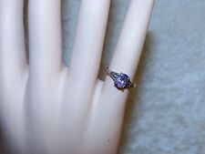 Womens Kids Pinky Ring Sterling Silver .925 Purple Spinel Violet Crystal Ring