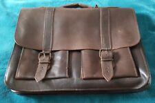Vintage Brown Leather Large Briefcase Messenger Bag Crossbody Satchel MI Greece