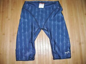 TYR FUSION Swimsuit JAMMER Size 28 Polyester Spandex FINA Swim Suit NAVY BLUE