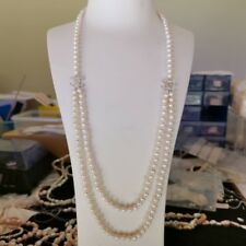 100% natural freshwater 6-6.5mm elegant pearl necklace W/C 75cm length AAALUSTER