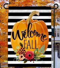 New listing Welcome Fall 12 x 18 Harvest Pumpkin Flower Garden Flag