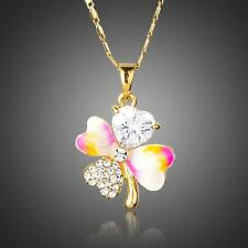 Gold Enamel and Crystal Lucky Clover Pendant Necklace And Chain #N112