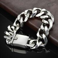 19mm width Men Boy Silver Stainless Steel Large Wide Curb Chain Bracelet Bangle