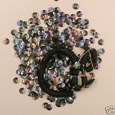 Vintage 1930's French Sequins 5mm Black Iris Round Cup Loose NOS 50 pieces
