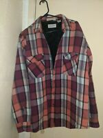 Vintage St. Johns Bay Quilted Line Flannel Button Shirt Jacket Mens Large Plaid