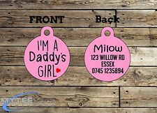 "Personalized Girl Dog Car Pet ID Name Tag Charm ""I'm A Daddy's Girl Double Sided"