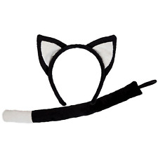 Adult / Child Cat Ears On Headband and Tail Set Fancy Dress Costume Accessory