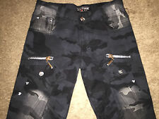 Unique AKMOSH Jeans M.J.K. Handmade One of a kind Black Camo Button Fly 39x35