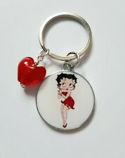 BETTY BOOP Red Heart Glittery Charm Red Dress Keyring Keychain Ladies Girls Gift