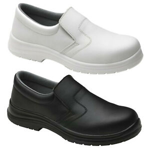 Mens Food-X Slip on Lightweight Safety Work Shoes Steel Toe Cap Anti Slip Boots