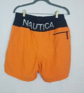 Vtg 90's NAUTICA Nylon Orange Shorts Swim Trunks Rare Sz M Spellout