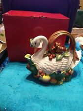 "Htf Beautiful Large Fitz & Floyd ""Holiday Swan"" Teapot Fruit Gold"
