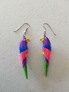 Earrings - Handmade Wooden Parrot Bird Blue Purple Pink 1980s 1990s Hand Painted