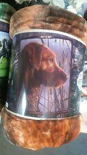 Dog Labrador Retriever American Heritage Woodland Plush Raschel Throw blanket