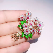 Crystal Cubic Zirconia Flower Jewelry Brooch Broach Pin Women Accessories Gift