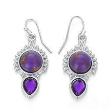 Women 925 Silver Moonstone Amethyst Topaz Dangle Earrings Wedding Party Jewelry