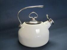 Chantal Classic 1.8 Whistling White Enamel  Tea Kettle Hohner Whistle VGC