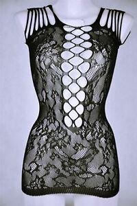 Hot Sexy Bodycon Dress Party Fishnet Sheer Black Stretch Clubwear See Through