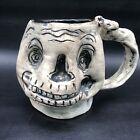 Studio Art Pottery Stylized Halloween Skeleton Coffee Mug Gray Black 10oz