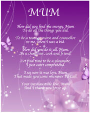Personalised Mum Poem Mothers Day Birthday Christmas Anniversary Gift Present