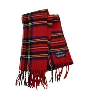 Polo Ralph Lauren Made in Italy Tartan Scottish Plaid Red Wool Fringe Scarf