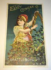 Old Antique Victorian Estey Organ Co. Harp Girl Advertising! Vermont Trade Card!
