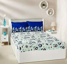 Blue & White Floral 144 TC Cotton Double Bed Sheet with 2 Pillow Covers Set