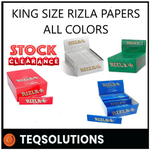 50x ORIGINAL RIZLA SILVER KING SIZE SLIM ULTRA THIN CIGARETTE SMOKING ROLL PAPER