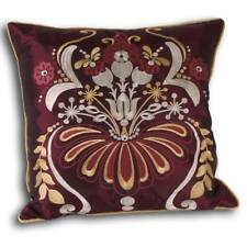 """Cushion Cover Striking Floral Embroidery Design Damson & Gold by Paoletti 18x18"""""""